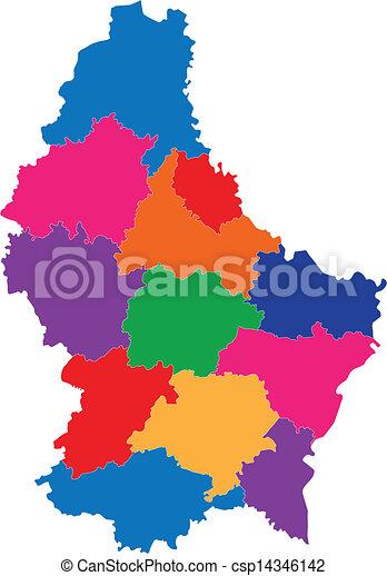 térkép, luxemburg - csp14346142