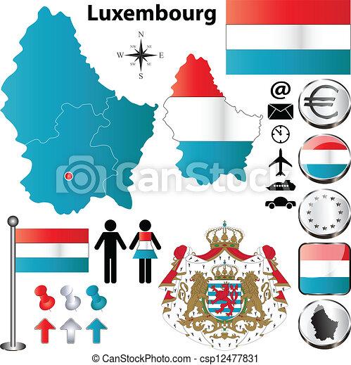 térkép, luxemburg - csp12477831