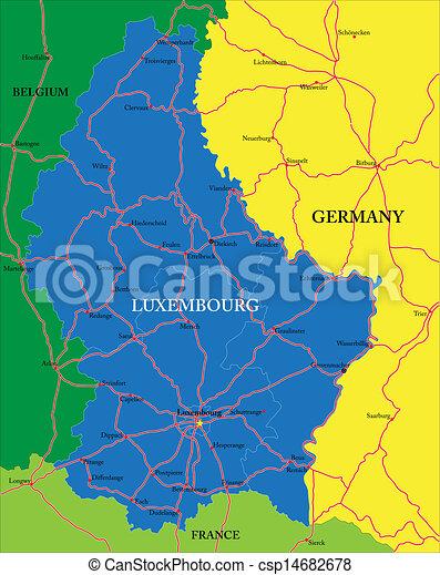térkép, luxemburg - csp14682678
