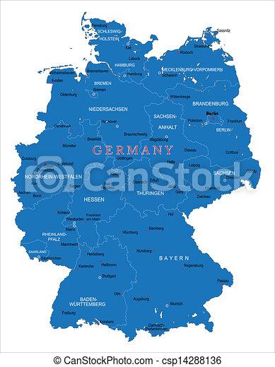 térkép, németország - csp14288136