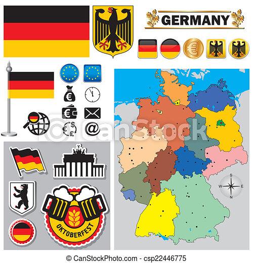 térkép, németország - csp22446775