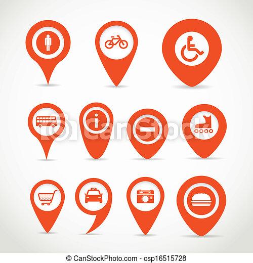 térkép, piros, cégtábla - csp16515728