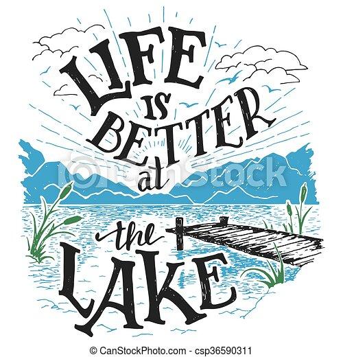 tó, hand-lettering, jobb, aláír, élet - csp36590311