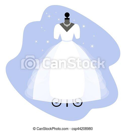 talár, dress., elegáns, mannequin., menyasszony, vector., esküvő, fehér, apparel. - csp44208980