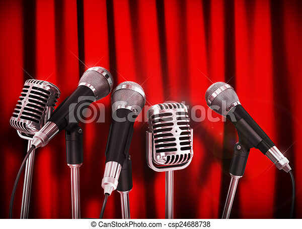 tanácskozás, microphones, rövid, felett, előkészített, beszélő, gyűlés, piros - csp24688738