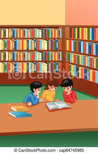 tanulás, gyerekek, könyvtár, ábra - csp64745985