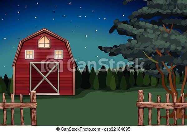 tanya, farmház, nighttime - csp32184695