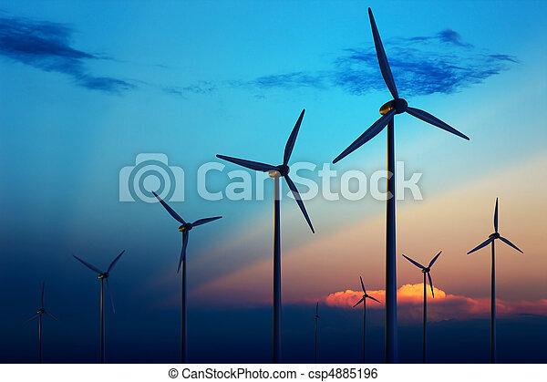 tanya, turbina, napnyugta, felteker - csp4885196