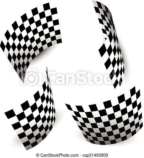 tarka, elszigetelt, lobogó, (chequered), fehér, versenyzés - csp31493809
