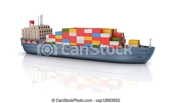 teherhajó, konténer - csp12693955