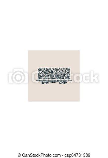 tehervagon, icon., rakomány - csp64731389