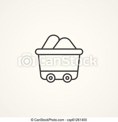 tehervagon, jelkép, vektor, ikon, aláír - csp61261400