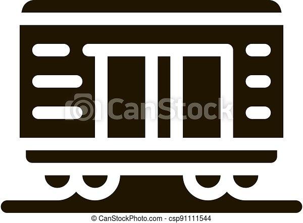 tehervagon, vektor, ábra, rakomány, ikon, glyph - csp91111544