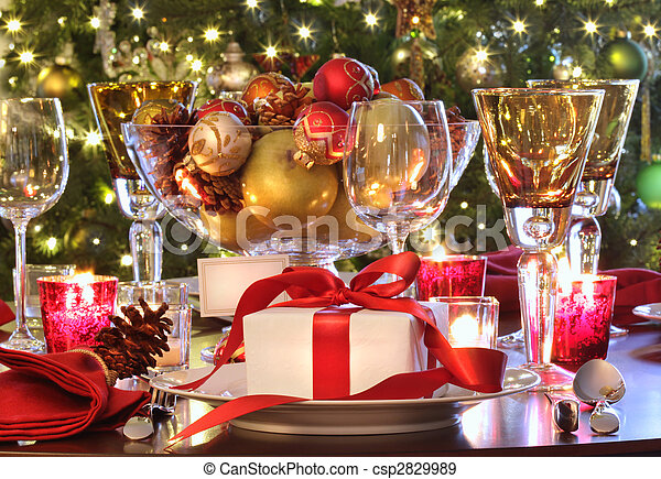 tehetség, ünnep, asztal, piros, beállítás, felszalagozott - csp2829989