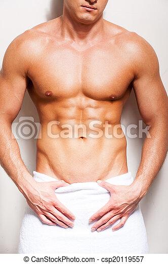 teljes, álló, közelkép, törülköző, body., shirtless, fiatal, ellen, háttér, befedett, hím, ember - csp20119557
