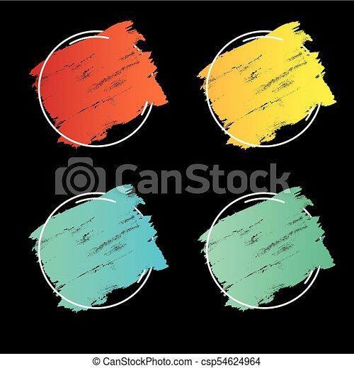teljes, állhatatos, grunge, főcím, banner., poszter, felett, struktúra, festék, ütés, tervezés, ecset, vector., jel, akril, keret - csp54624964