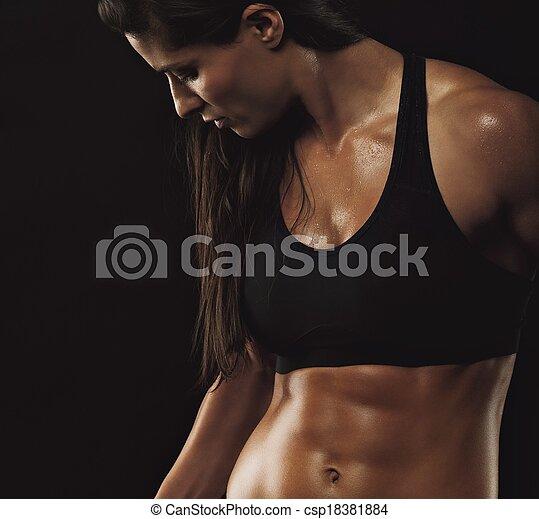 teljes, test, nő, erős, állóképesség - csp18381884