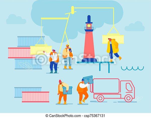 tengeri kikötő, rév, lighthouse., hajózás, tároló, hord, vektor, dobozok, boat., karikatúra, csereüzlet, összekapcsol, tengeri, munkás, berakodás, tengeri rakomány, kikötő, ábra, lakás, globális, logistic., daru - csp75367131
