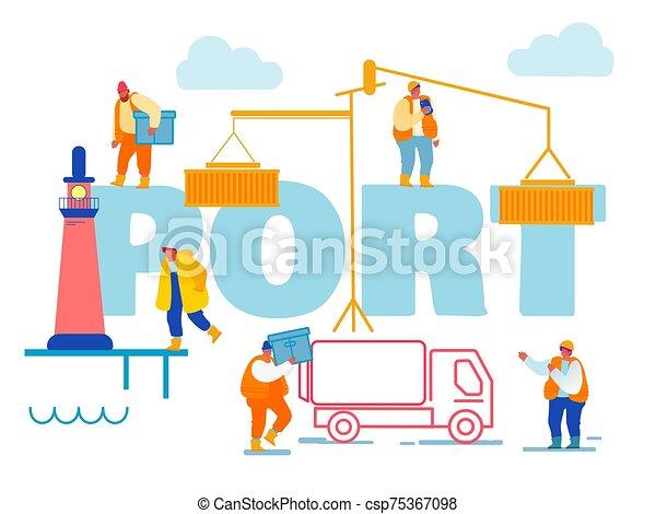 tengeri kikötő, rév, tároló, lighthouse., hajózás, hord, vektor, tenger, dobozok, munkaszervezési, transzparens, karikatúra, csereüzlet, összekapcsol, munkás, concept., berakodás, brochure., poszter, repülő, kikötő, ábra, lakás, daru - csp75367098