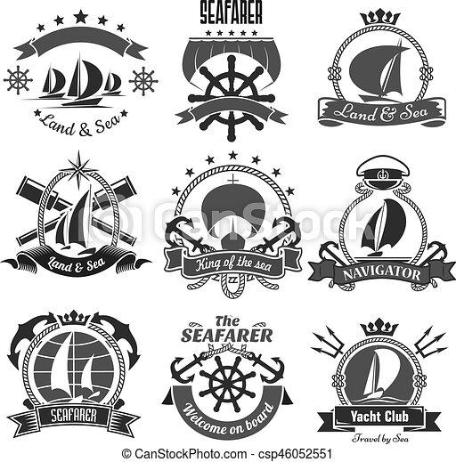 tengeri, vektor, címertani, tengeri, ikonok, állhatatos, jelkép - csp46052551