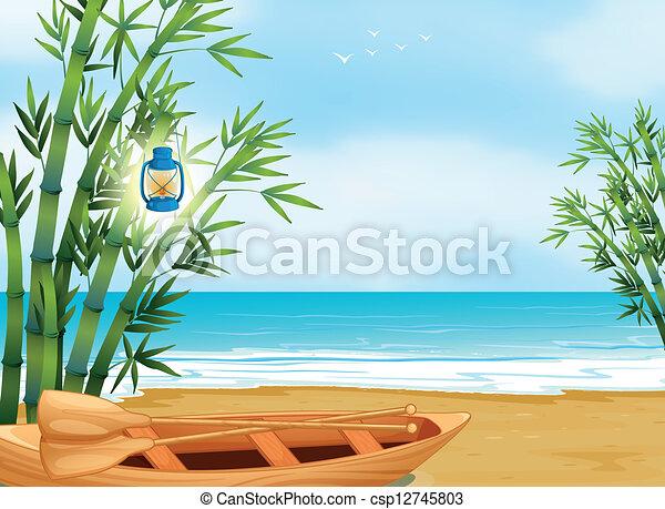 tengerpart, csónakázik - csp12745803