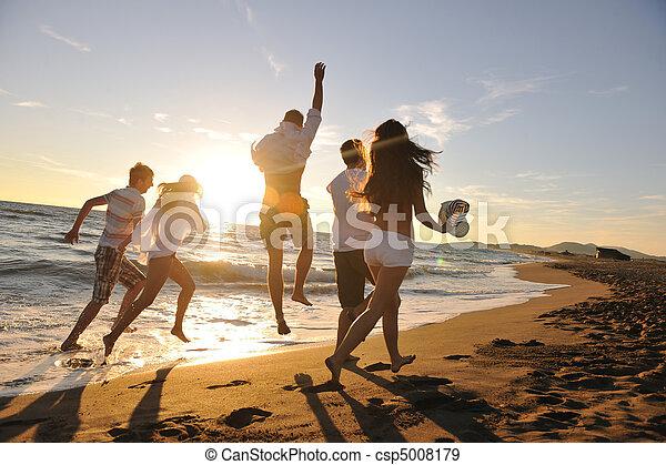 tengerpart, futás, csoport, emberek - csp5008179