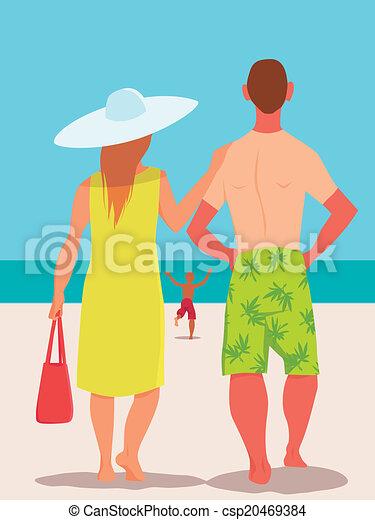 tengerpart szünidő, család - csp20469384