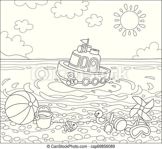 tengerpart, tenger, apró - csp69856089