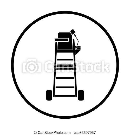 tenisz, szék, játékvezető, bástya, ikon - csp38697957