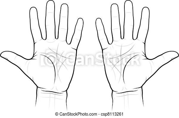 tenyérjóslás, diagram, horgonykapák - csp8113261