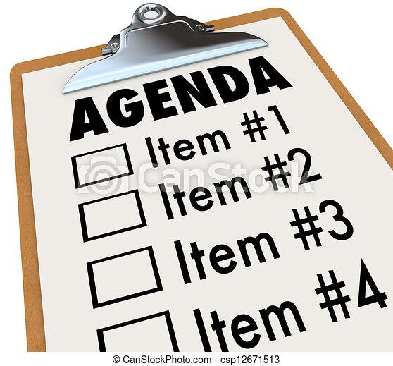 terv, csipeszes írótábla, terv, napirend, gyűlés, vagy - csp12671513