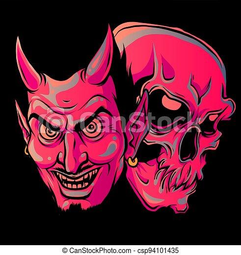 tervezés, fej, ábra, vektor, ördög, koponya - csp94101435