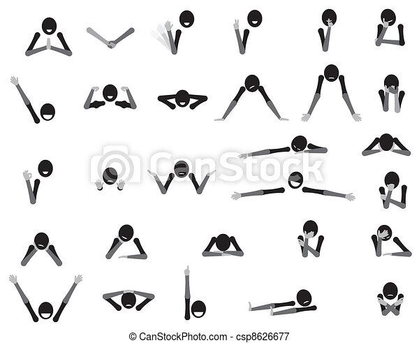 test, jelkép, nyelv, érzelmek, gesztikulál, karikatúra - csp8626677
