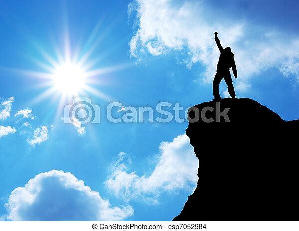 tető, ember, hegy - csp7052984