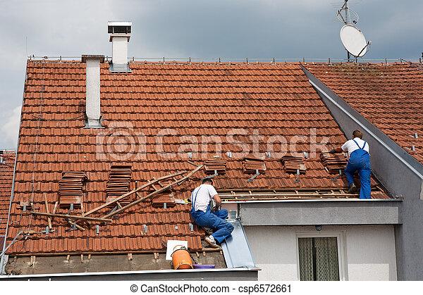 tető, férfiak, két, dolgozó - csp6572661