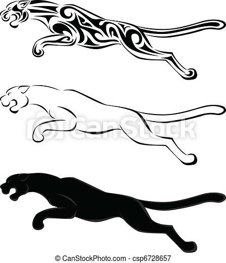 tetovál, árnykép, művészet, jaguár - csp6728657