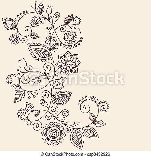 tetovál, paisley, vektor, hennabokor, szőlőtőke - csp8432926