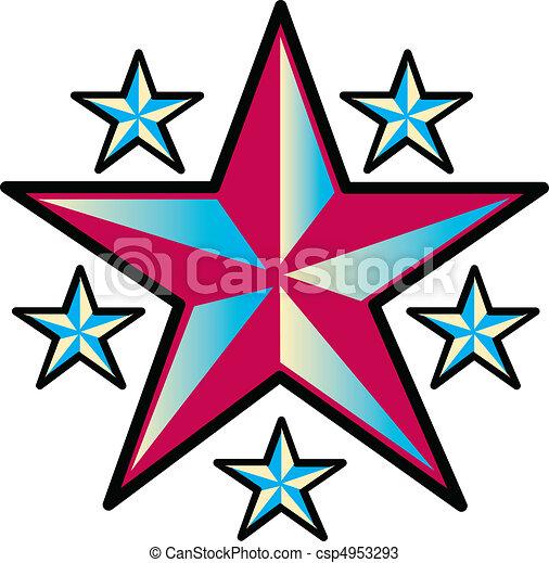 tetovál, tervezés, művészet, csillaggal díszít, csíptet - csp4953293