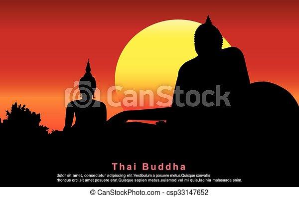 thai ember, árnykép, buddha. - csp33147652