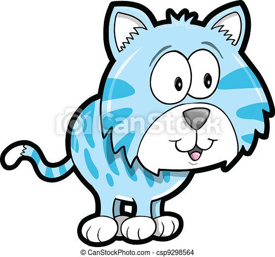 tiger, állat, vektor, csinos - csp9298564