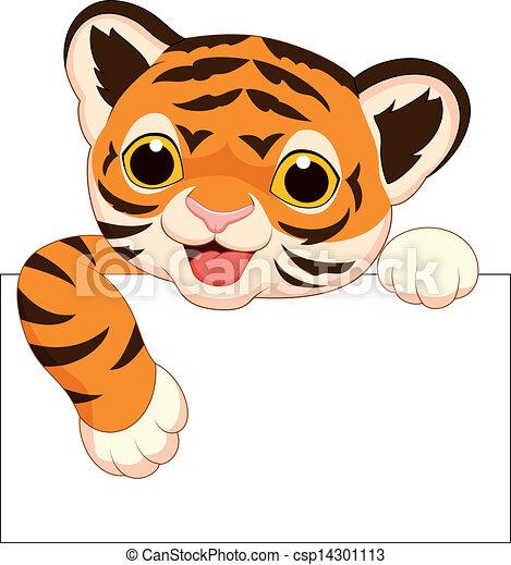 tiger, csinos, tiszta, karikatúra, aláír - csp14301113
