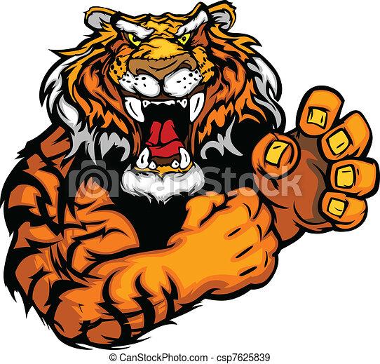 tiger, kép, vektor, kabala - csp7625839