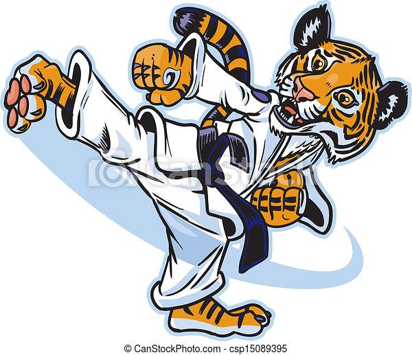 tiger, rúgás, kölyök, martial művész - csp15089395