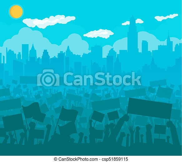 tiltakozik, zászlók, vagy, tolong, éljenzés - csp51859115