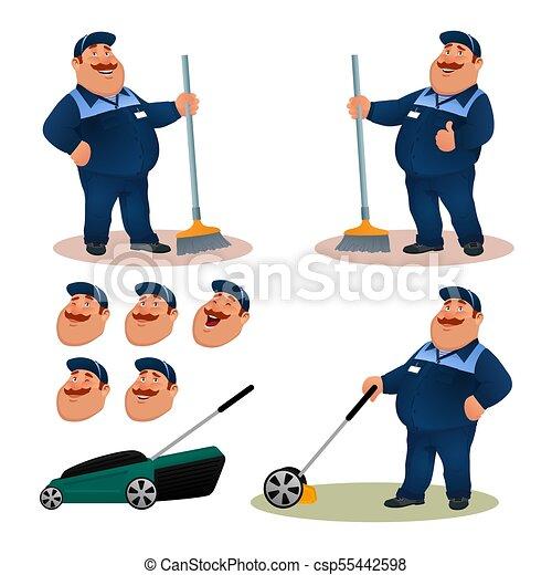 tisztító, állhatatos, mosolygós, kék, furcsa, emelet, betű, kaszáló, illeszt, kertész, boldog, lakás, színes, kövér, expressions., emotions., elsöprő változás, karikatúra, broom., pázsit, illustration., arc, vektor, gondnok - csp55442598