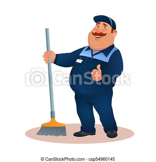 tisztító, hivatal, gesture., mosolygós, janitorial, kék, furcsa, szolgáltatás, betű, egyenruha, illeszt, boldog, lakás, színes, súrol, kövér, karikatúra, broom., jóváhagy, illustration., cleaning., vektor, gondnok, vagy - csp54960145