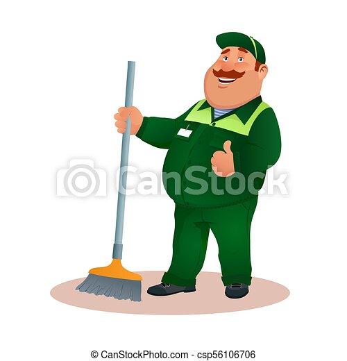tisztító, hivatal, gesture., mosolygós, janitorial, furcsa, szolgáltatás, betű, egyenruha, illeszt, boldog, lakás, színes, súrol, kövér, karikatúra, broom., jóváhagy, illustration., cleaning., vektor, zöld, gondnok, vagy - csp56106706