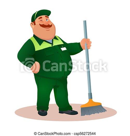 tisztító, hivatal, mosolygós, janitorial, eye., furcsa, szolgáltatás, betű, egyenruha, illeszt, boldog, lakás, pislogás, színes, súrol, kövér, karikatúra, illustration., winks., cleaning., vektor, zöld, gondnok, vagy - csp56272544