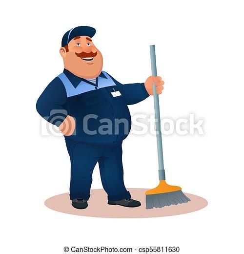 tisztító, hivatal, mosolygós, janitorial, kék, furcsa, szolgáltatás, betű, egyenruha, illeszt, boldog, lakás, színes, kövér, karikatúra, broom., illustration., cleaning., mop., vektor, gondnok, vagy - csp55811630
