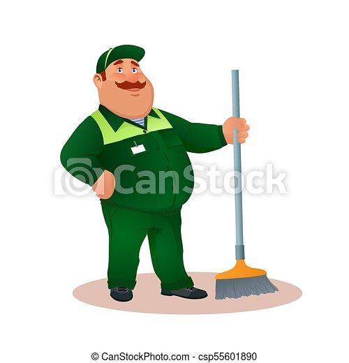 tisztító, hivatal, mosolygós, janitorial, furcsa, szolgáltatás, betű, egyenruha, illeszt, boldog, lakás, színes, kövér, karikatúra, broom., illustration., cleaning., mop., vektor, zöld, gondnok, vagy - csp55601890